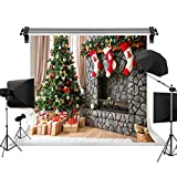 Kate 10x10ft/3x3m Christmas Photography Backdrops Xmas Backdrop Christmas Tree Socks Kids Backdrop Brick Fireplace Children Christmas Photo Background