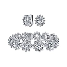 Bling Jewelry CZ Flower Bridal Bracelet Clip On Earring Set Rhodium Plated