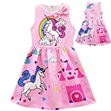 Tiaoqi Unicorn Party Gifts Dress,Summer Sleeveless Bow Crew Neck Floral Dress (XL, Pink)