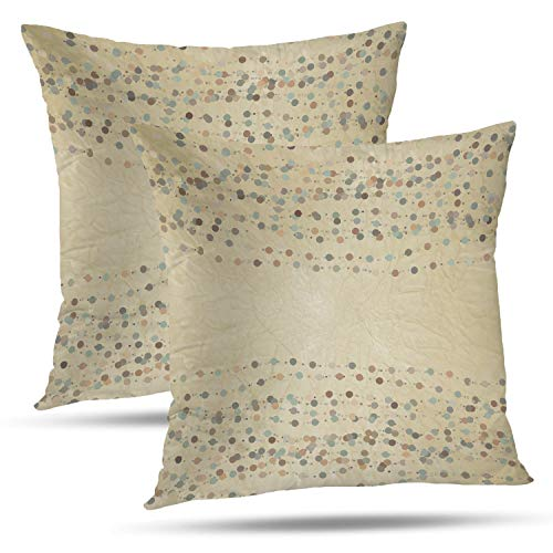 (Batmerry Spring Pillows Decorative Throw Pillow Covers 18x18 Inch Set of 2, Green and Vintage Polka Dot and Dot Lace Border Invitation Polka Double Sided Square Pillow Cases Pillowcase Sofa)