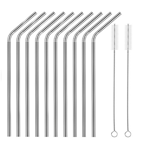 Price comparison product image Set of 10 Stainless Steel Straws,  HuaQi Bent Reusable Drinking Straws 10.5'' Long for 30 oz Tumbler and 20 oz Tumbler,  2 Cleaning Brush Included (10 Bent Straws + 2 Brushes