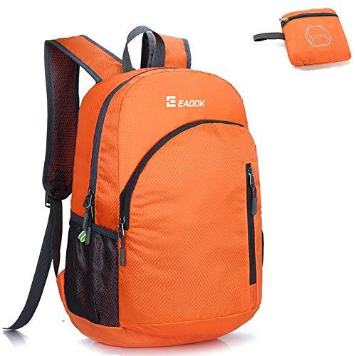 Foldable Backpack 20-35L Ripstop ultralight Packable Backpack Waterproof Orange