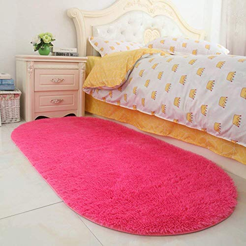 YJ.GWL Soft Hot Pink Fluffy Rugs for Girls Room Bedroom Anti-Slip Kids Carpet Nursery Shaggy Area Rugs 2.6' X 5.3' (Hot Pink Carpet Shag)