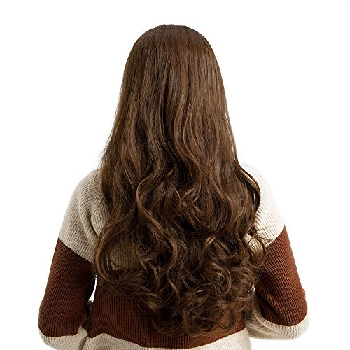 Long Loose Wavy Syntheic Wig Front Wig Curly Full Natural Hair Wigs Women Brown - Long Tinsel Wig