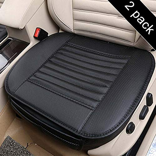 Cover Seat Cushion (Carmoni PU Leather Seat Cushion Cover, Breathable Protection Chair Cushion Mat Pad, Soft Car Seat Cover for Auto Car Supplies Office-2 Packs (Black))