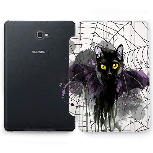 Wonder Wild Black Cat Samsung Galaxy Tab S4 S2 S3 A E Smart Stand Case 2015 2016 2017 2018 Tablet Cover 8 9.6 9.7 10 10.1 10.5 Inch Clear Design Animals Bat Spider Web Magic Salem Kitten Paint Drops