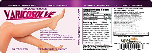 VARICOSOLVE The Natural Varicose Vein and Spider Vein Relief. Improve Circulation. Triple strength (1900 mg). 60 Tablets