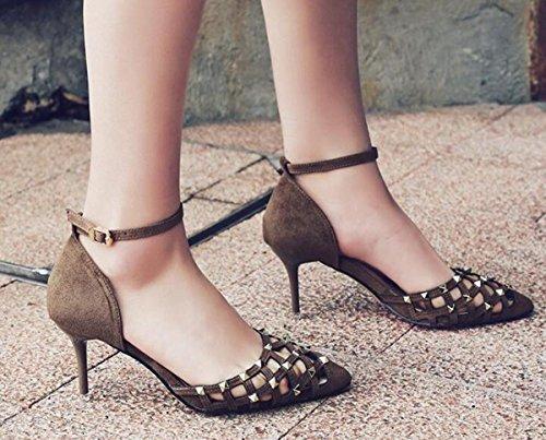PBXP OL Pompe Peep Toe Cinghie Ankle Stiletto Mid Heel Fibbia Hollow Decorazione Rivetto Superiore Edizione Limitata Casual Scarpe UE Taglia 34-39 , brown , 35