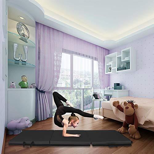 YOSHIKO Tri-fold Gymnastics Yoga Mat Exercise Mat with Hand Buckle Non-Slip Surface Black 55″x24″x1.2″