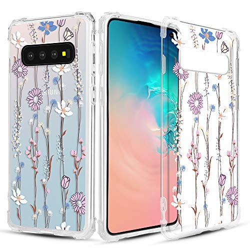 Caka Clear Case for Galaxy S10 Clear Floral Case Flower Pattern Vine Series Slim Girly Anti Scratch Excellent Grip Premium Clarity TPU Crystal Case for Samsung Galaxy S10 - Blue Pink]()
