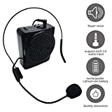 Voice Amplifier, soled Rechargeable Loud Speaker, Portable Microphone with Waistband and Microphone headset, for Teachers, Speakers, Gym Directors, Coaches, Presentations and Tour Guides Black