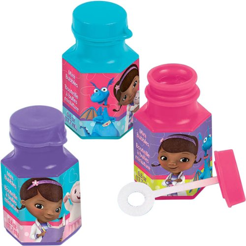Doc McStuffins Mini Bubbles Birthday Party Toy Favours Pack (12 Pack), Multi Color, 6 oz. -