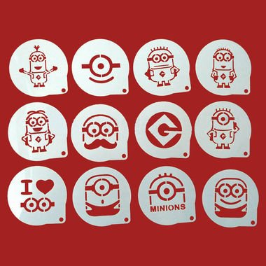 12 PC Minions Despicable Me Cupcake Stencil Set - Custom Stencils from Bakell (Minon Cake)