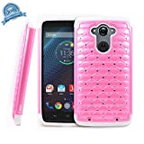 Droid Turbo Case, NageBee [Hybrid Protective] Armor Soft Silicone Cover with [Studded Rhinestone Bling] Diamond Hard Case for Motorola Droid Turbo XT1254(Fits Ballistic Nylon Version) - Cute