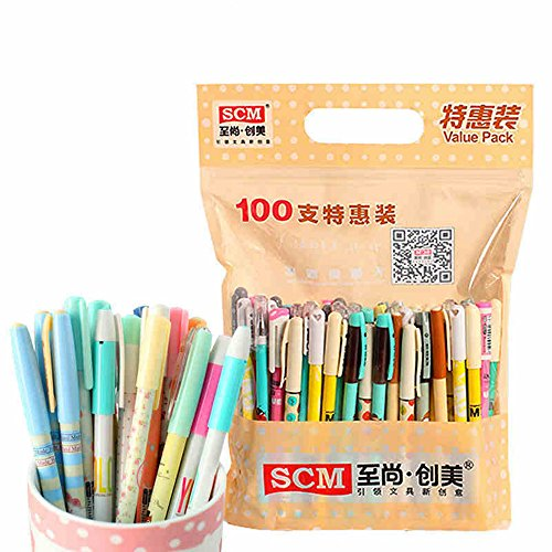 SCM Rollerball pen Value pack, 100pcs with colorful pattern 0.38mm,0.35mm core