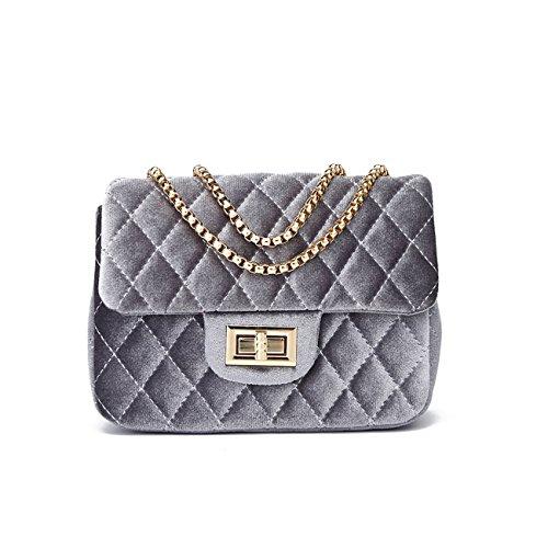 LeahWard Frauen Quilted Samt Kettenriemen Handtaschen Cross Body Handtaschen Tasche Schultertasche 170591 (ROT 20cmX14cm) GRAU 20cmX14cm