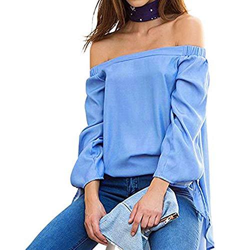 Lunga A Dpnna Manica Felpe Donna Da Camicia Manica A Donna Scollo Bluse Corte Lunga Styledresser Con V Blu 8Anqzwvx5