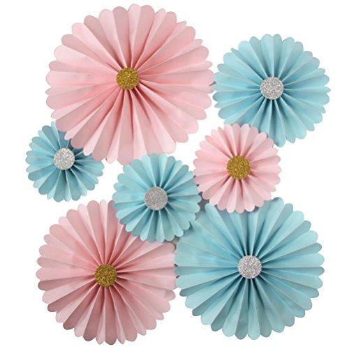 Mybbshower Pink Blue Gender Reveal Rosette DIY Kit Wedding Backdrop Nursery Wall Home Decor Paper Pinwheels Pack of 7 ()