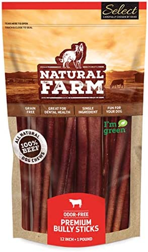 Natural Farm Select Bully Sticks - Odor Free, Packaged via Weight (1-Pound), Hand Selected 100% Beef Dog Treats, Fully Digestible, High Protein, Low Fat Dental Chews