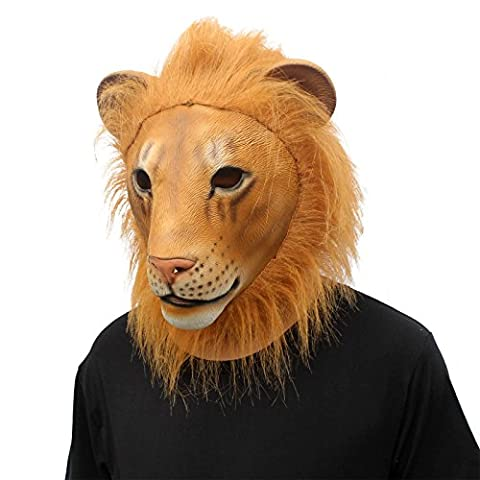 CreepyParty Deluxe Novelty Halloween Costume Party Animal Lion Head Mask Lion New