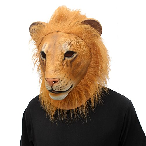 CreepyParty Novelty Halloween Costume Party Animal Head Mask King Lion (Lion new)