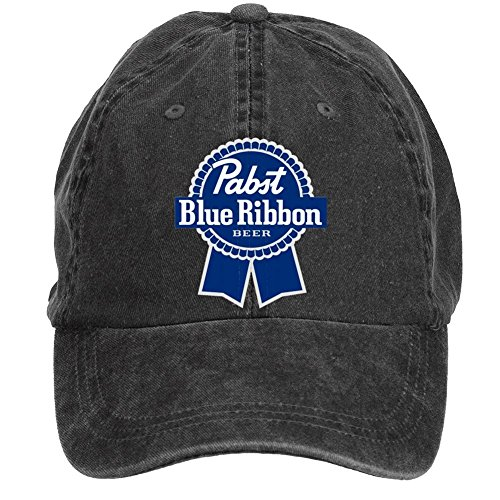 Jidlg Custom Washed Mens Cotton Pabst Blue Ribbon Symbol Adjustable Peaked Baseball Cap Black (Pabst Blue Ribbon Beer)