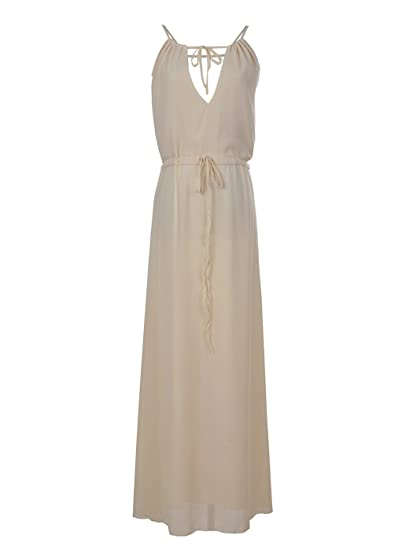 Anna-Kaci Womens Chiffon Ivory Cream Greek Goddess Toga Summer Beach Long Maxi Dress