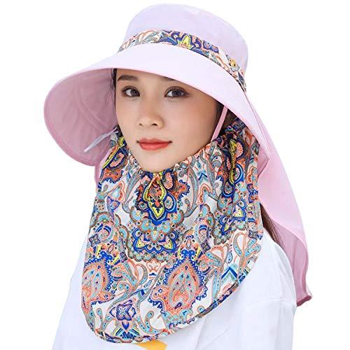 Lanzom Women Lady Wide Brim Cap Visor Hats UV Protection Summer Sun Hats (Z-Pink)