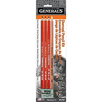 """General Pencil 321742 557BP Charcoal Pencil Kit with Eraser, 0.12"""" Height, 2.75"""" Width, 9.75"""" Length (Pack of 5)"""