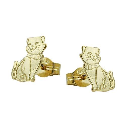 Stecker 430804-8x5mm Katzen teil-mattiert 8Kt Gold