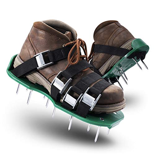 Xmifer Aerator Shoes, Lawn Aerator Shoes with 26 Spikes and 4 Adjustable Straps Heavy Duty lawn aerator spike shoes Withstand Up to 400LB Ready for aerating Your Yard, Lawn, Roots & Grass