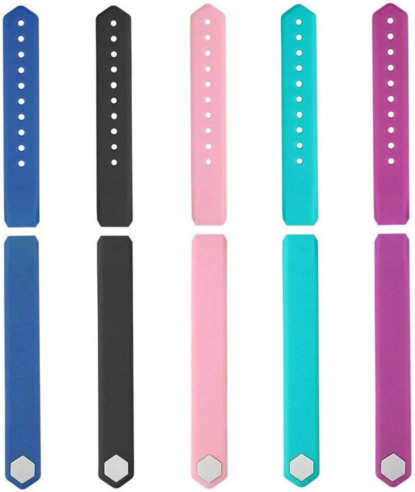 Black//Purple//Blue//Green//Pink ID115 HR Replacement Band Adjustable Strap for Smart Bracelet Fitness Tracker 5 Pack