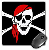 : 3dRose LLC 8 x 8 x 0.25 Inches Mouse Pad, Pirate Skull And Cross Bones - Art - Black Flag (mp_52730_1)