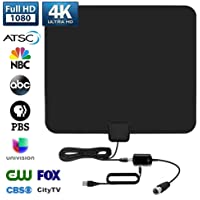 HDTV Antenna, 2020 Newest Indoor Digital TV Antenna 120+ Miles Long Range with Amplifier Signal Booster Support 4K 1080P UHF VHF Freeview HDTV Channels with 13.3FTCoax Cable