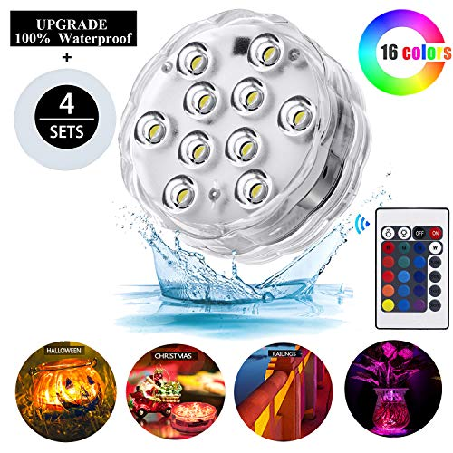 (Melon Boy Submersible Led Lights,Underwater Waterproof Bathtub Lights with Remote Control for Hot Tub,Vase Base,Pond,Pool,Aquarium,Party,Fish Tank,Home Decorations Mood Lights 4pc)