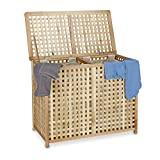 Relaxdays Double Laundry Hamper Laundry Basket 2 Part Laundry Bin 46.1 x 87.9 x 68.1 cm Laundry Sorter Double Laundry Box with 2 Linen Sacks Bags, Natural