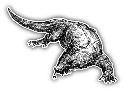 Art Sticker Bumper - Komodo Dragon Sketch Art Decor Bumper Sticker 5'' x 3''