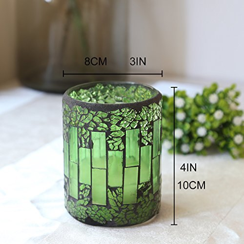 """GiveU Mosaic Glass Flameless Pillar Led Candle with Timer,3X4"""",Green for Home Decor, Weddings, Parties and Awesome Gifts"""