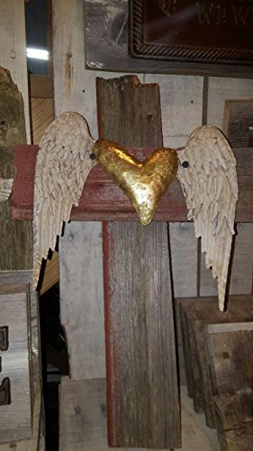 Reclaimed wooden cross with Tin Angel Wings