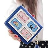Rain's Pan Woman's Short Tassel Printing Cute Cartoon Illustraton Bifold Zipper with Snap Style Wallet (jewelry blue)
