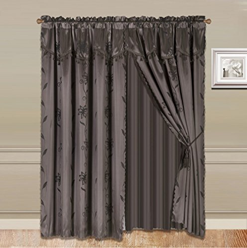 GorgeousHomeLinen 8-Piece Brown Nada Luxury Faux Jacquard Flower Design Panel, Rod Pocket Window Curtain Set Attached Valance, Panel, And Sheer- Includes 2 Tassels