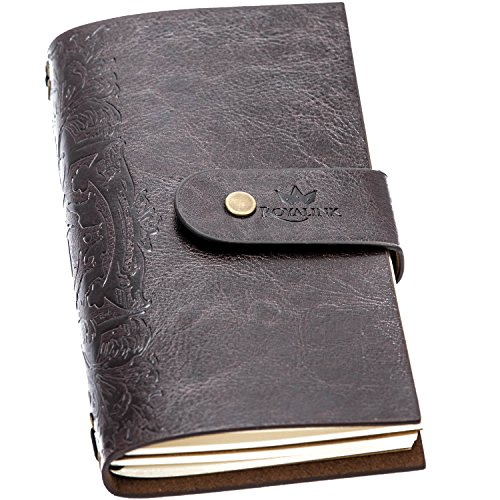 Refillable Vintage Journal 7 x 4 – Classy Daily Notebook Handmade with Quality PU Leather and Ivory Colored Blank Paper, by Royal Ink