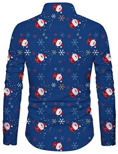 Manches Slim Down Button M xxl Shirt Casual Homme Loveternal À Chemise Longues Fit Santa AnZgctq1w