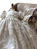 Pretydress Lace Long Christening Baptism Dress For Baby Girl With Bowknot and Bonnet (Ivory, 18-24 Months)