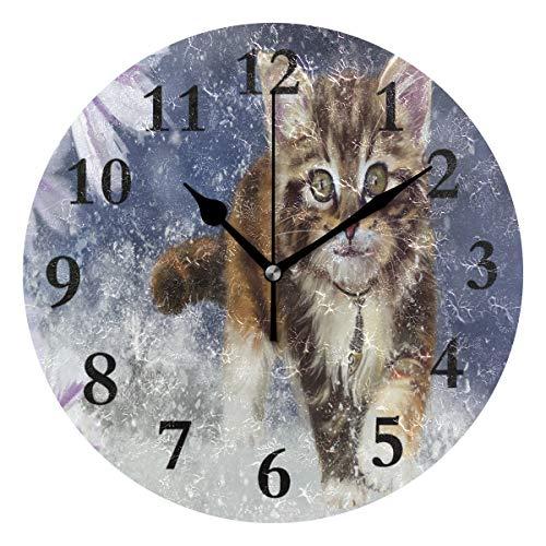 (FunnyCustom Round Wall Clock Kitty Cat Snowy Acrylic Creative Decorative for Living Room/Kitchen/Bedroom/Family )