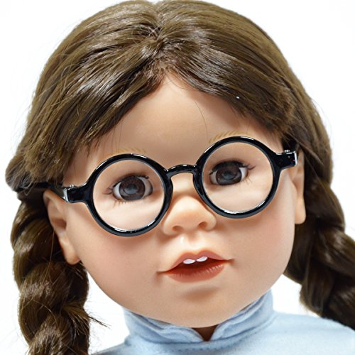 Set of 2 Solid Round Glasses for 18'' Doll - Doll Glasses Fits 18 Inch and American Girl Dolls - Includes a Pair of White Round Glasses and Black Round Glasses