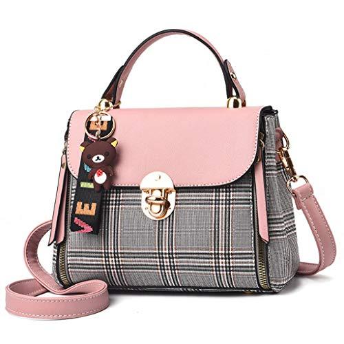 ZXW-Handbag Fashion Plaid Shoulder Strap Handbag 23x12x17cm (Color : Pink, Size : 23x12x17cm)