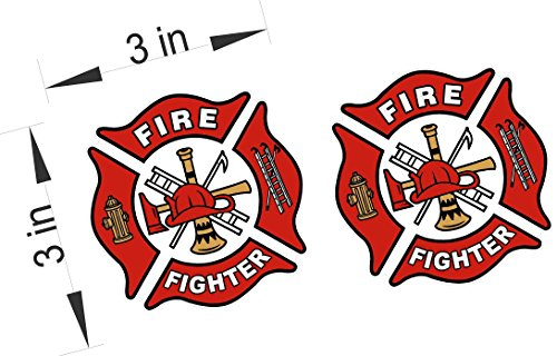 WHITE/RED Reflective Vinyl Decal Fire Dept Maltese cross firefighter sticker (Firefighter Auto)
