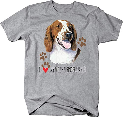 (I Love My Welsh Springer Spaniel Dog Paw Prints Custom Tshirt - 2XL)