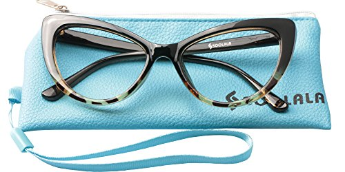 SOOLALA Womens Oversized Fashion Cat Eye Eyeglasses Frame Large Reading Glasses (Leopard, 2.75)